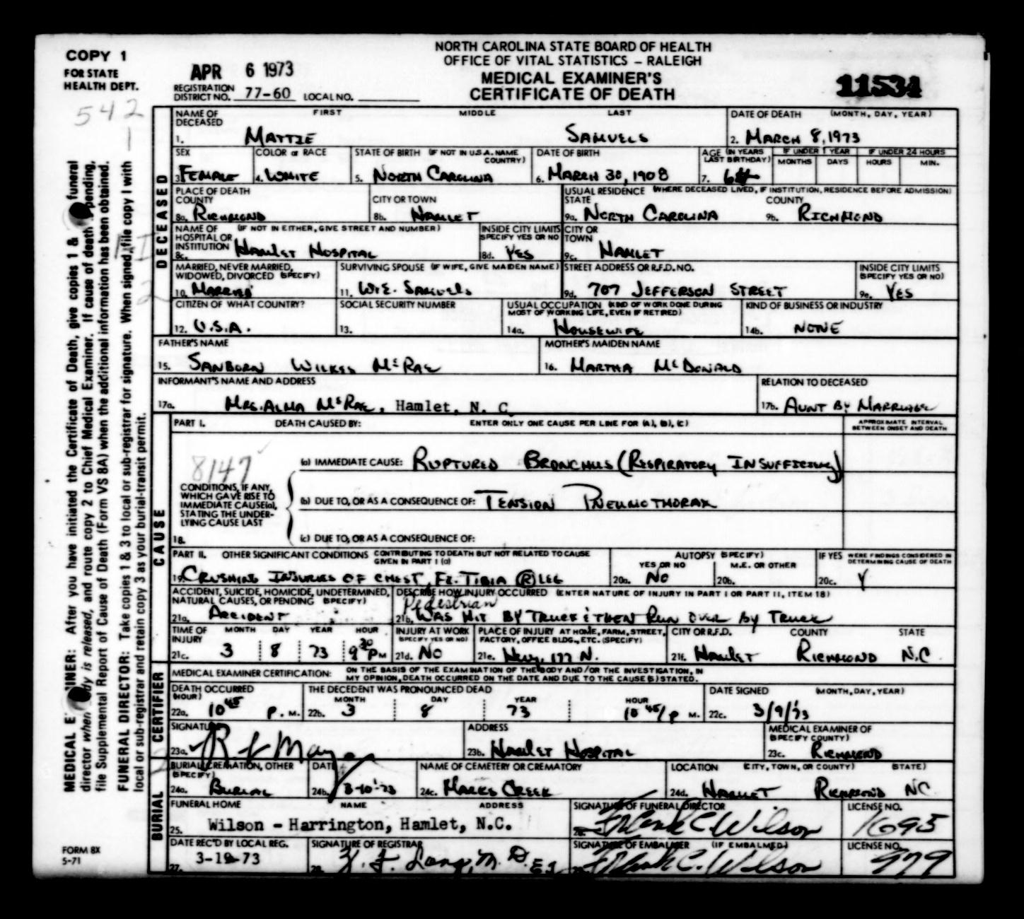 Mattie mcrae samuels north carolina death certificate acw use the slider to resize the image mattie mcrae samuels north carolina death certificate xflitez Choice Image